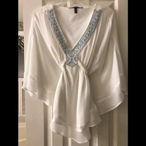 White and light blue beaded blouse